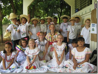Aimee and her students on Nicaragua's Independence Day.
