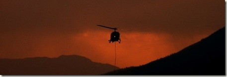 Helicopter in smokey haze