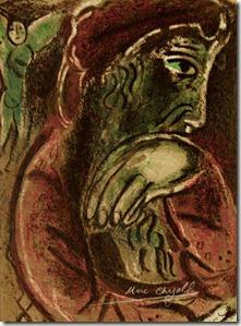 """""""Job in Despair,"""" colour lithograph, Marc Chagall, 1960"""