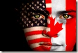 Face painted with US & Canada flags (found with Google)