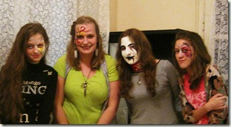 Jodi (second from left) and friends at a face painting youth night