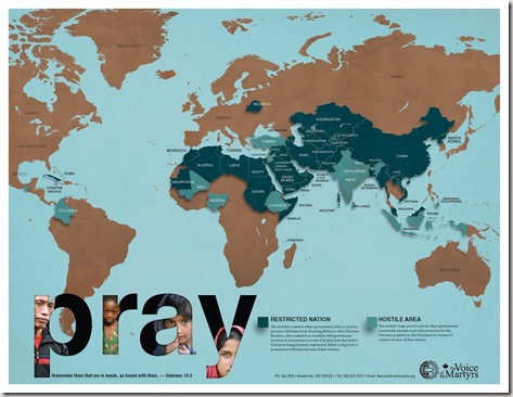 Voice of the Martyrs Prayer Map 2011