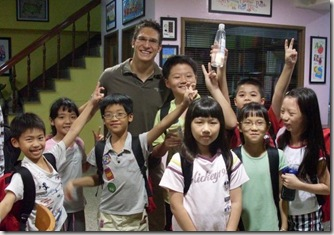 Andrew with some of his students in Taiwan