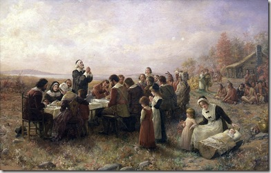 """The First Thanksgiving at Plymouth"" painting by Jennie A. Brownscombe"