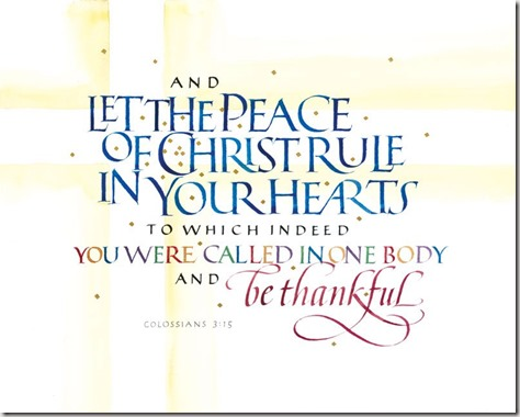 Colossians 3:15 calligraphy by Tim Botts