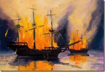 Graphic of burning ships found via Google; artist unknown