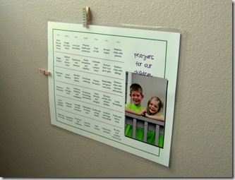 Prayers for Our Children calendar that hangs on our wall