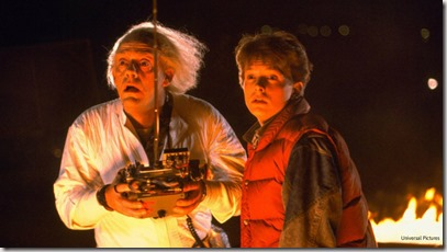Doc Brown and Marty McFly watch the Delorian disappear into the future in Back to the Future